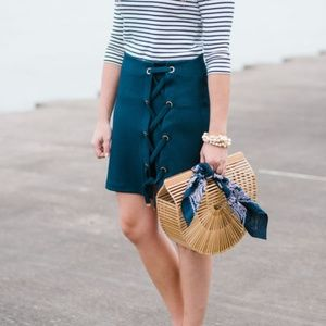 Kensie Lace-Up Navy Blue Skirt with Gold Hardware